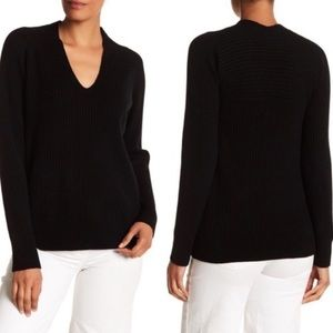 Vince Ribbed Wool Cashmere V-neck Sweater M